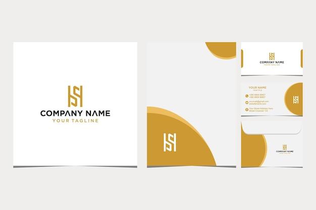 会社と名刺の封筒とレターヘッドプレミアムベクトルプレミアムベクトルのhsロゴデザインのインスピレーション