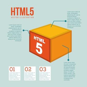 Html 5 illustration with cube vintage vector illustration