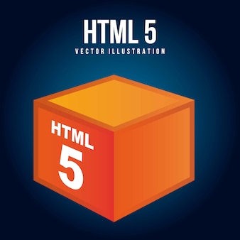 Html 5 illustration with orange cube vector illustration