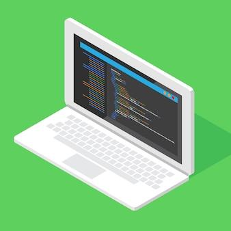 Htmlコードのwebサイト。ラップトップのコーディング、プログラミングの概念。図。