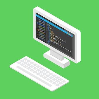 Html код сайта. настольное кодирование, концепция программирования. иллюстрации.