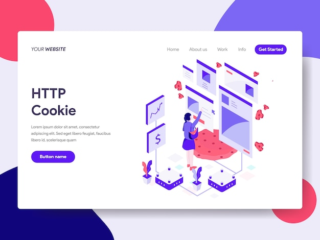 Http cookie isometric illustration