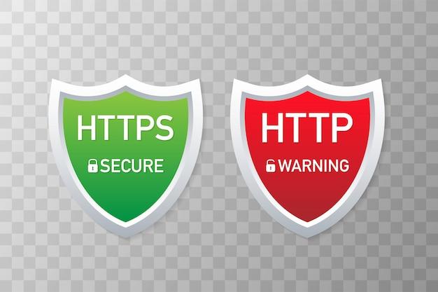 Протоколы http и https. безопасный и безопасный wev browsing. векторные иллюстрации