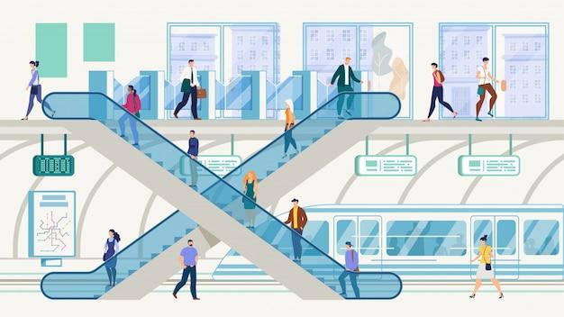 Метрополис общественный транспорт hub векторный концепт