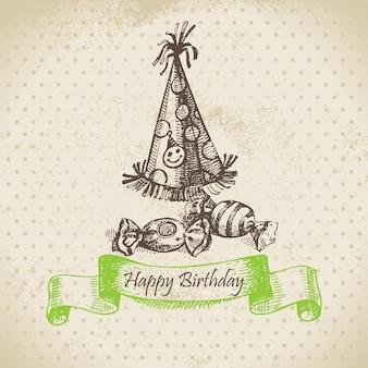 Колпак и сладости. с днем рождения рисованной иллюстрации