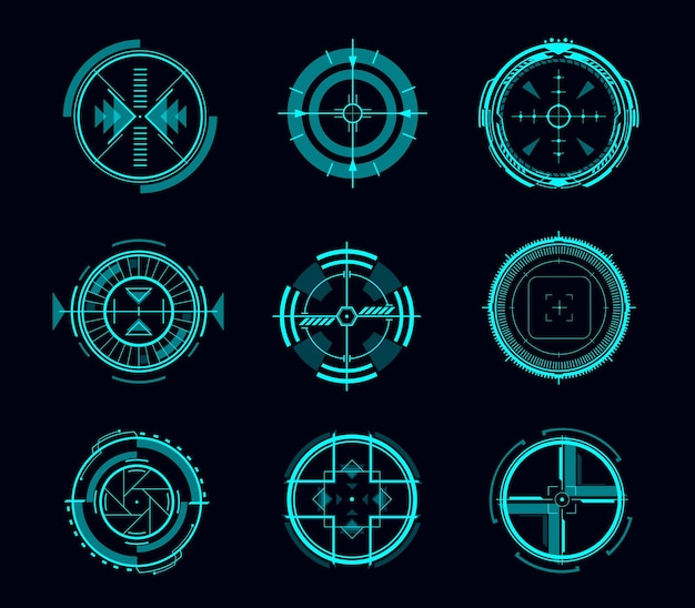 Hud aim control, futuristic target or navigation interface, vector game ui. digital data screen, panel or dashboard of future technology head up display with blue hologram circles, arrows, crosshairs