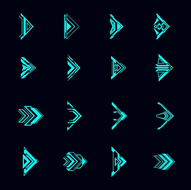 Hud arrows, futuristic navigation pointers, sci fi ui interface. digital techno style vector elements. neon glowing buttons for computer game or app menu, modern graphic design cursor symbols set