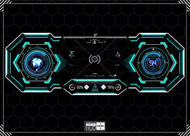 Hud background. dashboard spacecraft. the sight is fantastic. futuristic user interface. abstract future, concept  futuristic blue .