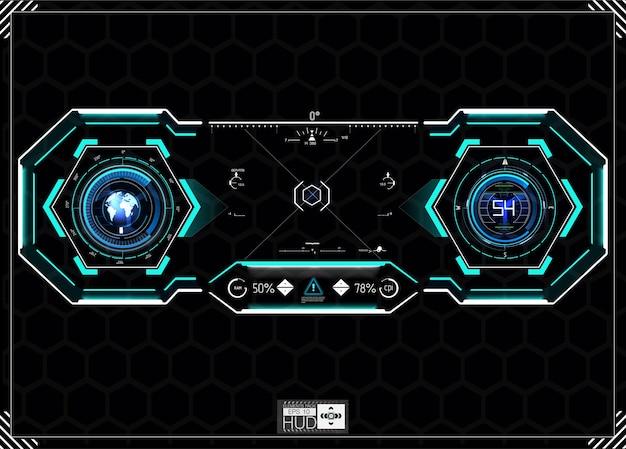 Hudの背景。ダッシュボード宇宙船。その光景は素晴らしいです。未来的なユーザーインターフェイス。抽象的な未来、コンセプトの未来的なブルー。
