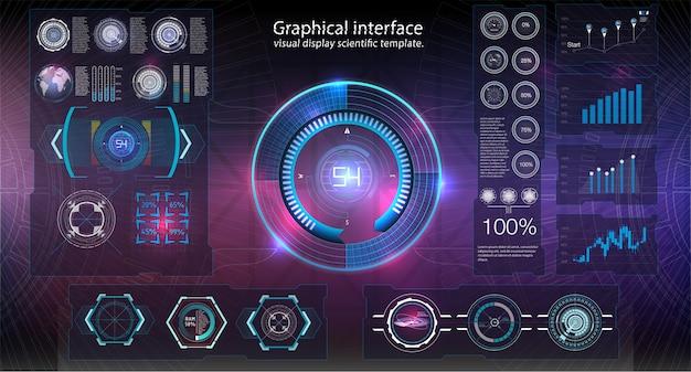 Hud背景の宇宙空間。インフォグラフィックの要素。デジタルデータ、ビジネスの抽象的な背景。インフォグラフィック要素。未来的なユーザーインターフェイス。