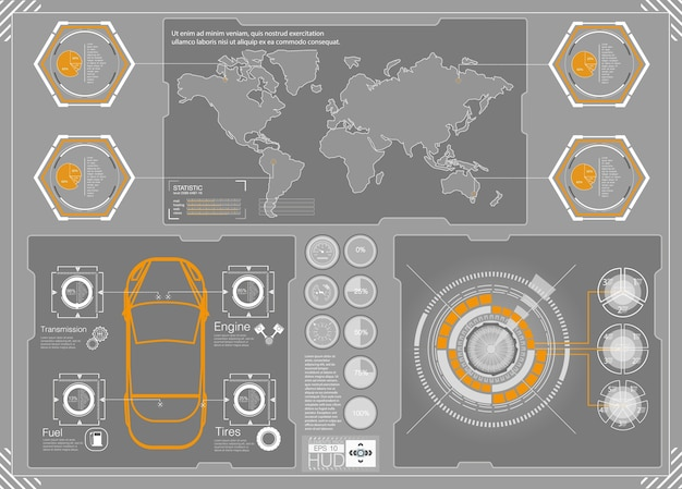 Hud background outer space. infographic elements. futuristic user interface.  web interface elements. game target navigation interface hud ui .  illustration.