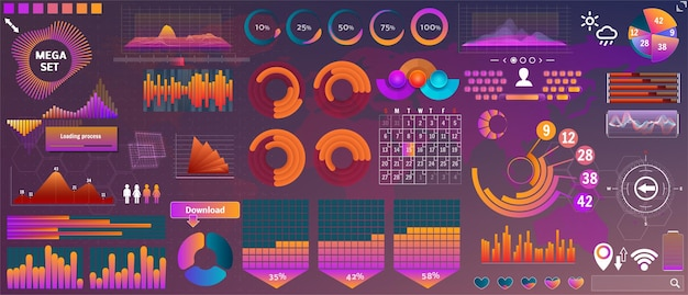 デザインとアプリのデバイスのための要素の大きなセットをhud