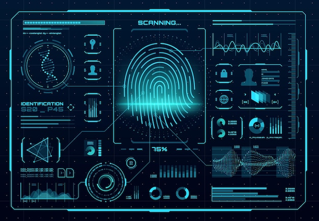 Hud 생체 인식 액세스 제어 인터페이스. 지문 스캐너, 디지털 식별 또는 인증 기술. 네온 빛나는 infographic 요소, dna, 그래프 및 차트가 있는 벡터 엄지 인쇄