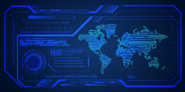 Hud blue world cyber circuit future technology  background