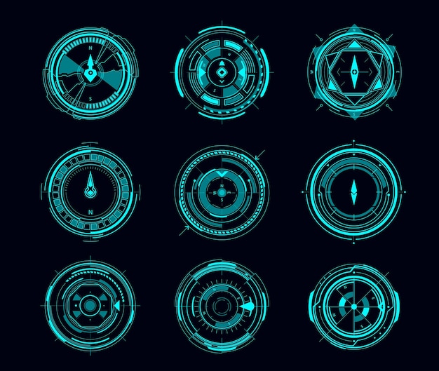 Hud compass or aim control panel of futuristic navigation interface. vector ui of sci fi game with digital compass or viewfinder displays, neon glowing wind rose arrows, target scopes and crosshair