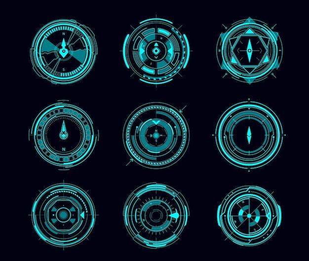 미래형 탐색 인터페이스의 hud 나침반 또는 목표 제어판. 디지털 나침반 또는 뷰파인더 디스플레이, 네온 빛나는 바람 장미 화살표, 대상 범위 및 십자선이 있는 sci fi 게임의 벡터 ui