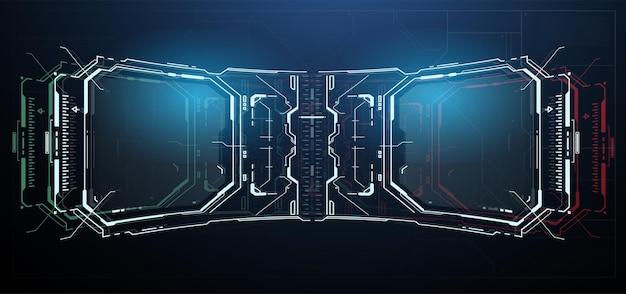 Панель управления hud. высокотехнологичная рамка с цифровой голограммой.
