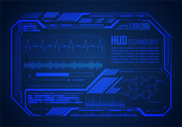 Hud cyber circuit future technology concept background, ekg pulse monitor