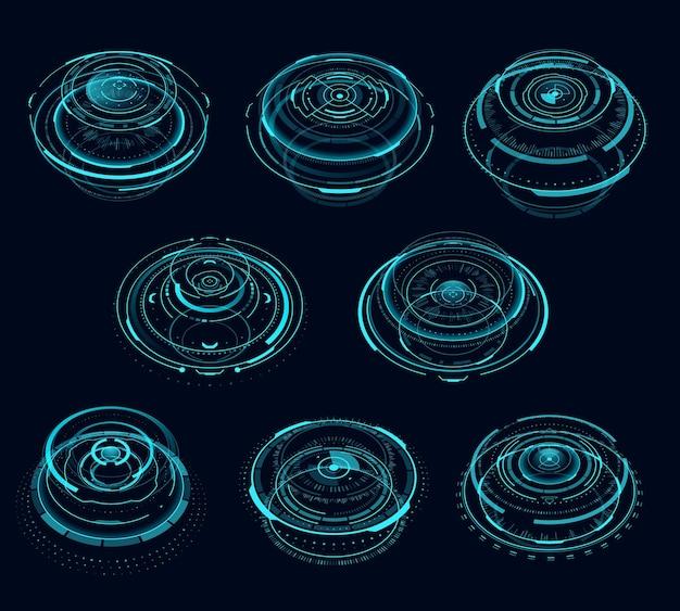 Hudサイバーパンクの未来的な円形仮想ポータル、テレポートホログラム。 hudまたはサイバーパンクゲームのベクターポータルサークルまたはレーザービームを使用したデジタル画面仮想時間テクノロジー