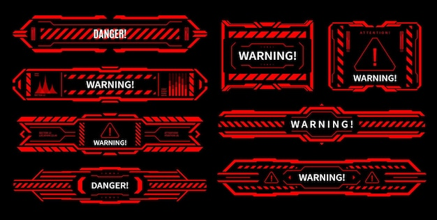 Hud danger and alert attention red interface signs