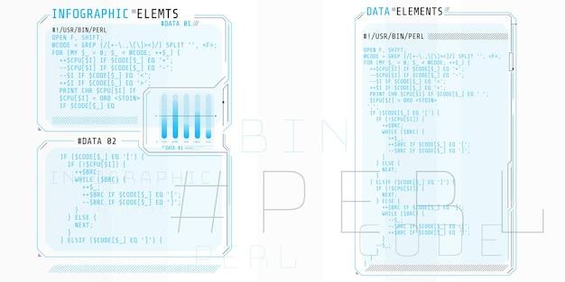 코드 perl의 일부가있는 인터페이스 창으로 구성된 hud 요소.
