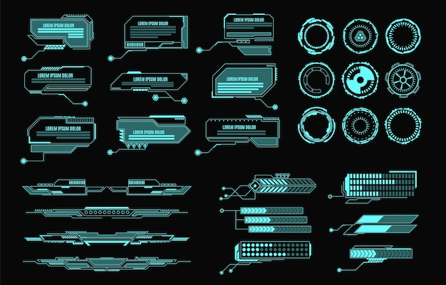 Hud要素ゲームアプリ用の未来的な仮想画面ユーザーインターフェイスコントロールパネル