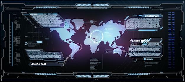 Кадры hud. футуристические современные элементы пользовательского интерфейса, панель управления hud. окно цифровой голограммы экрана высоких технологий. научно-фантастическая футуристическая приборная панель. технология vitrual reality. векторная иллюстрация