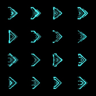 Hud futuristic arrows and navigation pointers. blue neon light arrow cursors