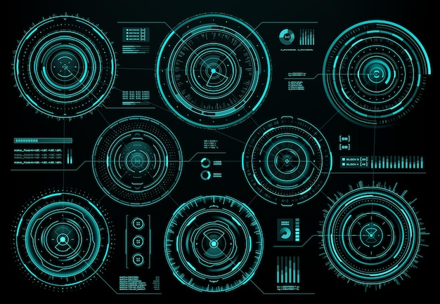 Hudの未来的な円形インターフェース画面パネル、sf webインターフェース、ビジネスインフォグラフィックビジュアルデータ、ベクトル。情報画面上のデジタルグラフとチャート図を備えたhud円形インターフェース要素