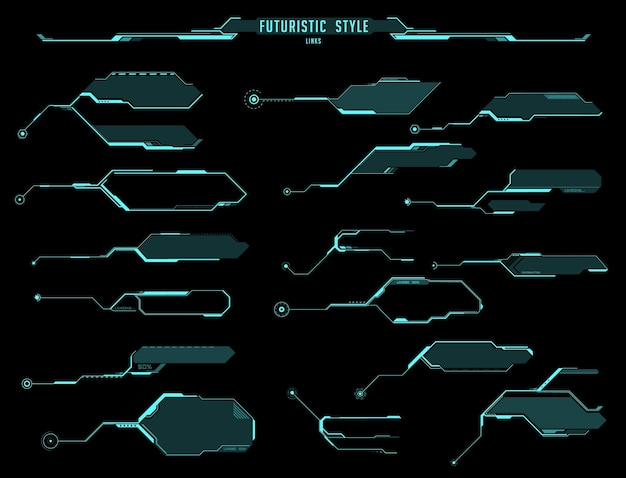 Hud futuristic displays, screens and info boxes, vector ui interface of sci fi game. hologram callout title and bar label modern digital templates with arrows and frames, head up display gui design