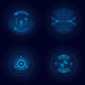 Hud futuristic element isolated on dark background. hi-tech user interface. abstract virtual target. illustration.