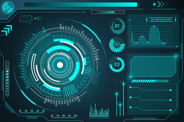 Hud futuristic element isolated on dark background. hi-tech user interface.