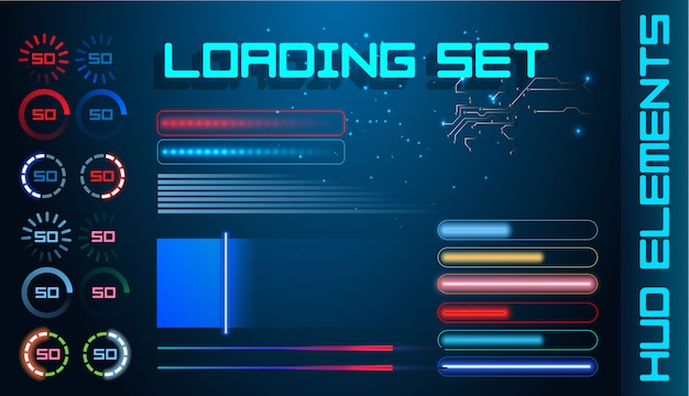 Hud futuristic element loading bars set vector background.