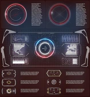Hudの未来的な要素。サークル抽象デジタルテクノロジーui未来的なhud仮想のセット