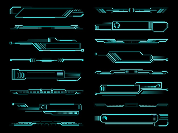 Hud futuristic info box, display and borders interface elements