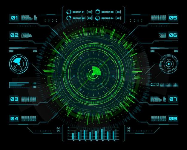 Hudの未来的なインフォグラフィック。視覚的なビジネスデータ情報、プレゼンテーション、青と緑のネオンサークル図を使用したuiインターフェイス、ベクトル情報チャート、パネル。バーチャルリアリティゲームインターフェースまたはホログラム