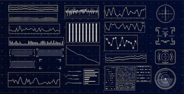 Hudの未来的なインターフェースインフォグラフィック要素を備えたハイテクディスプレイチャートと図を備えたダッシュボード