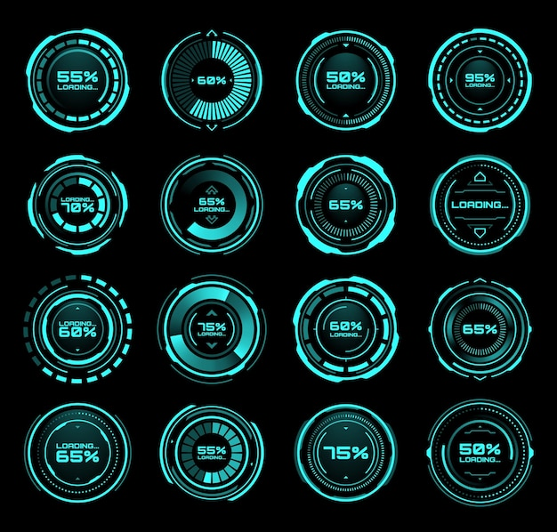 Hud futuristic loading bars of process and status interface vector icons. digital technology panel with hud downloading bars on neon screen or dashboard controls on display with percent status