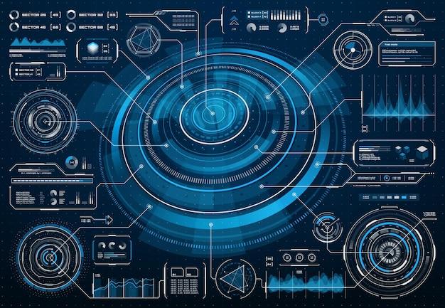 ビッグデータ情報チャートを備えたhudの未来的な画面インターフェースまたはscifiインフォグラフィック。ダッシュボードパネル上の図、フローチャート、グラフ、将来の技術のデジタルuiとhudベクトル画面インターフェイス