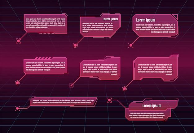 Hudの未来的なスタイルの吹き出しのタイトル。未来的な吹き出しバーのラベル。図