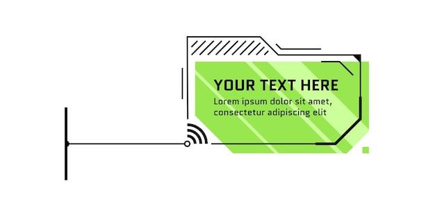 Заголовок зеленого выноски в футуристическом стиле hud. панель вызова инфографики и современный научно-фантастический шаблон макета кадра цифровой информации. интерфейс ui и элемент текстового поля gui. векторная иллюстрация