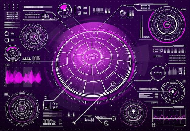 Hud未来技術スクリーンデジタルインターフェース。 scifiユーザーインターフェース