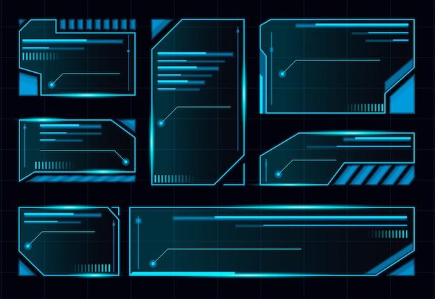Hud futuristic user interface screen set.