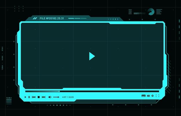 Интерфейс футуристического видео медиаплеера hud, скин