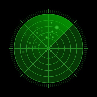 Hud green radar with targets in action. military search system