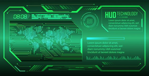 Hud green world cyber circuit future technology  background
