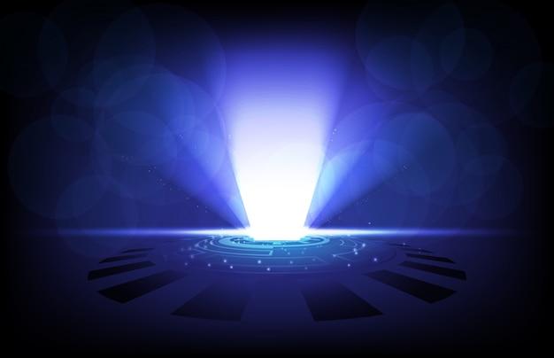 光と未来のhud guiディスプレイパネルの抽象的な背景