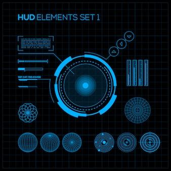 Hud и gui установлены. футуристический пользовательский интерфейс.