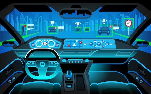 Пустая кабина автомобиля, hud (head up display) и цифровой спидометр. автономная машина. автомобиль без водителя. самостоятельное вождение автомобиля.