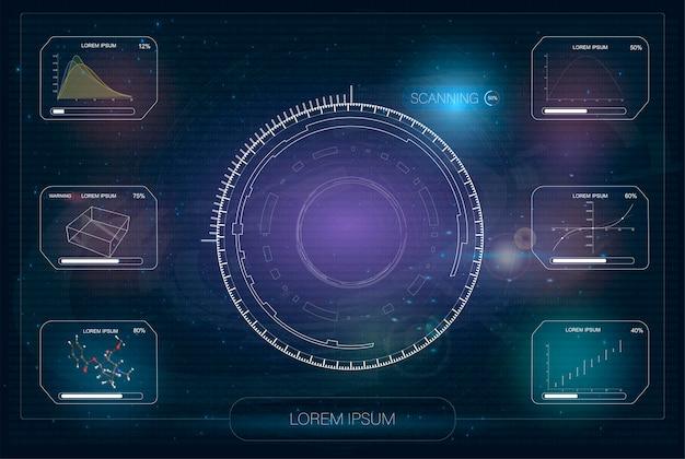 Hud。ハイテク未来的なディスプレイ。技術と科学、分析のテーマ。